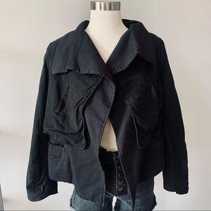 Monrow cotton-linen layered blazer jacket black M